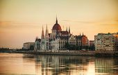 foto of hungarian  - Hungarian Parliament building in Budapest at sunrise - JPG