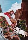 stock photo of the lost sheep  - this is my own painting and it portrays the marvelous revelation of god - JPG