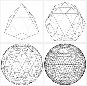 stock photo of octahedron  - From Octahedron To The Ball Sphere Lines Vector - JPG