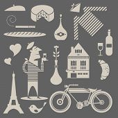 stock photo of french beret  - Vector set of various icons about france - JPG