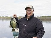 picture of crappie  - Fisherman witha large Black Crappie in Minnesota - JPG