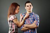 foto of stubborn  - Young woman angry with her indifferent husband - JPG