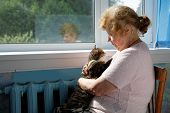 stock photo of lap  - The old woman holds cat in a lap - JPG