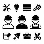 picture of industrial safety  - Industrial worker and tools icons set - JPG