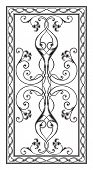 image of sandblasting  - simetrichnyh pattern with floral ornament edged with openwork frame for use on tabletop - JPG