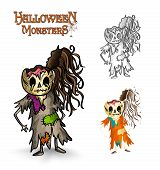 pic of rotten  - Halloween monsters spooky cartoon rotten zombies set Vector file organized in layers for easy editing - JPG
