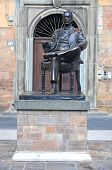 The statue of Giacomo Puccini in Lucca, Tuscany in Italy