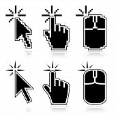 stock photo of mouse  - Black mouse cursors set - JPG