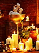 image of panchakarma  - Luxury ayurvedic spa massage still life - JPG