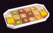 pic of gulab  - A group of Asian sweets in white box - JPG