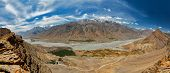 stock photo of himachal pradesh  - Aerial panorama of Spiti valley and Key gompa in Himalayas - JPG