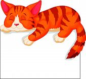 stock photo of cat-tail  - Vector illustration of Cute cat cartoon sleeping - JPG