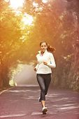 Young woman running. Female runner jogging on misty road with the early morning at sunrise with sun