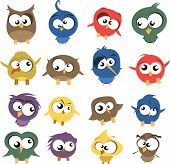 stock photo of angry bird  - vector set of ugly but cute birds - JPG