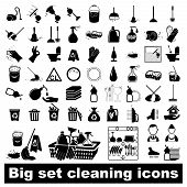 stock photo of broom  - Icons set Cleaning - JPG