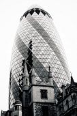 London - September 21: The Modern Glass Buildings Of The 30 St Mary Axe, Swiss Re, Gherkin September