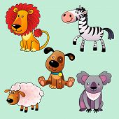 image of koalas  - Set of cartoon animals - JPG