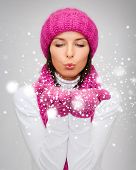 stock photo of blowing  - christmas - JPG