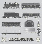 pic of charcoal  - Collection of retro style locomotive and train labels and icons - JPG