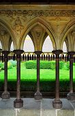 Cloister garden in Mont Saint Michel abbey in France