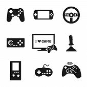 stock photo of controller  - Video computer console games controller icons set of joystick keypad steering wheel isolated vector illustration - JPG