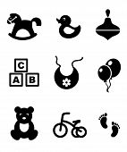 pic of baby duck  - Set of nine different black and white baby icons depicting a rocking horse - JPG