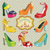 picture of platform shoes  - Set of Colorful fashion women - JPG