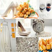pic of champagne color  - Wedding collage in orange and white color theme - JPG