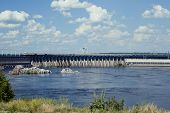 stock photo of hydroelectric power  - The Dnieper Hydroelectric Station - JPG