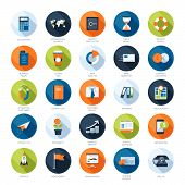 image of sms  - Vector collection of colorful flat business and finance icons with long shadow - JPG