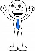 foto of greedy  - Hand drawn cartoon euro money eyes businessman happy greedy and hands raised up - JPG