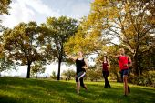 stock photo of shotokan  - A group of young adults training martial arts in the park - JPG