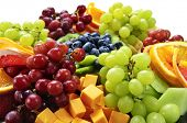 stock photo of fruit platter  - Platter of assorted fresh fruit and cheese - JPG