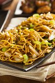 picture of lo mein  - Asian Chow Mein Noodles with Vegetables and Chopsticks - JPG