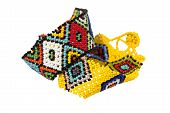 stock photo of zulu  - two zulu beadwork bracelets in bright colors - JPG