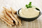 stock photo of pita  - Bowl of fresh hummus dip with pita bread slices - JPG