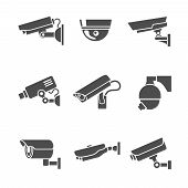 foto of cctv  - Video surveillance security cameras graphic pictograms set isolated vector illustration - JPG