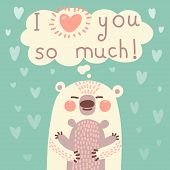 image of bear cub  - Greeting card for the bear mother and cub cute hug - JPG