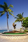 picture of malecon  - Friendship fountain on Malecon at Pacific ocean in Puerto Vallarta - JPG