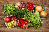 image of farmer  - Fresh farmers market fruit and vegetable produce from above - JPG