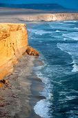 stock photo of ica  - Peruvian Coastline Rock formations at the coast Paracas National Reserve Paracas Ica Region Peru - JPG