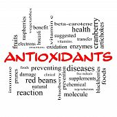 picture of enzyme  - Antioxidants Word Cloud Concept in red caps with great terms such as foods prevent diseases and more - JPG