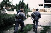 TURANJ, CROATIA, 07 SEPTEMBER 1993 ---- Croatian military police in battle against Serb troops durin