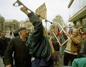 BELGRADE, YUGOSLAVIA - 29 MARCH 1999: An anti-NATO rally in Belgrade on march 29, 1999 turned violen