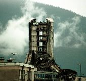 SARAJEVO, BOSNIA - NOVEMBER 20: The destroyed offices of the Bosnian daily newspaper Oslobodjenia co