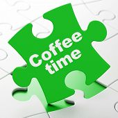 Time concept: Coffee Time on puzzle background