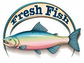 pic of long-fish  - Illustration of a fish with a fresh fish label on a white background - JPG