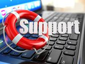 Support. Laptop and lifebuoy on laptop's keyboard. 3d