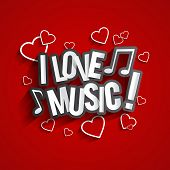 image of heart sounds  - I Love Music Design With Hearts And Notes On Red Background vector illustration - JPG