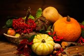 image of wooden basket  - Thanksgiving day autumnal still life - JPG